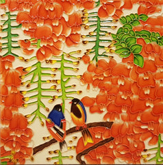 3573 Orange Gold Flower 30cm x 30cm Ceramic Tile