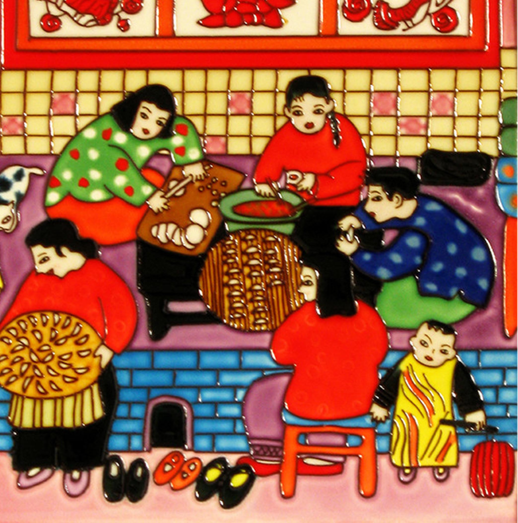 3801 Making Dumplings 30cm x 30cm Ceramic Tile