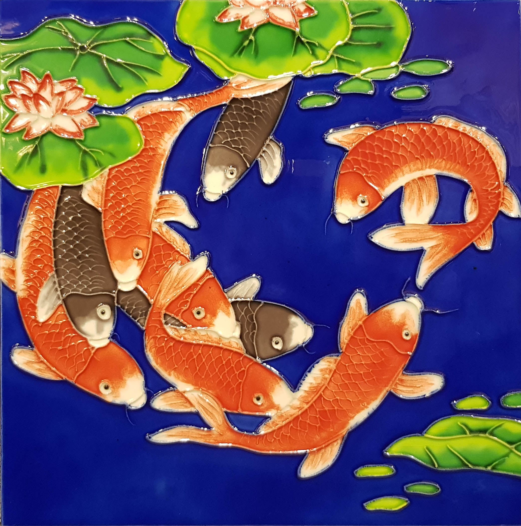 3819 Koi with Blue Background 30cm x 30cm Ceramic Tile