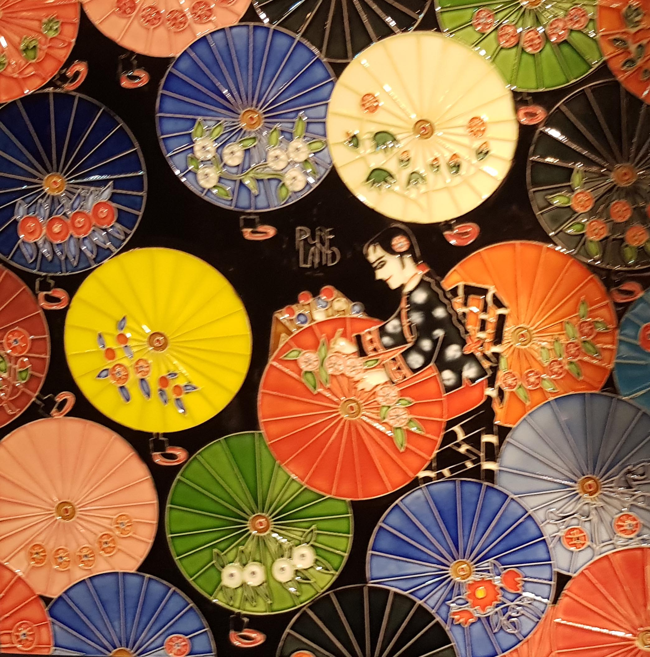 3832 Embroidered Umbrellas 30cm x 30cm Ceramic Tile