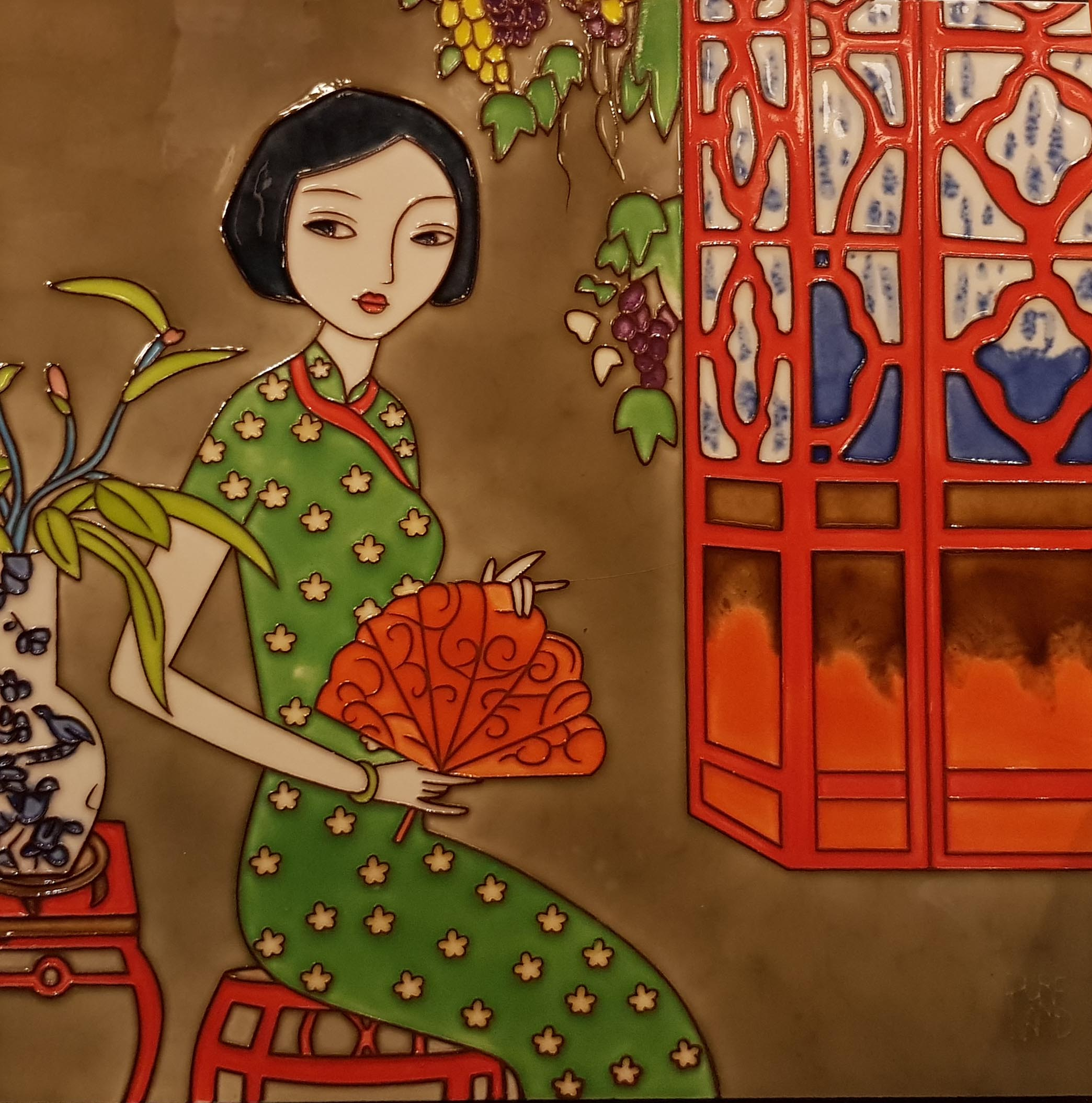 3847 Qipao and Fan (Collector's Edition) 30cm x 30cm Ceramic Tile