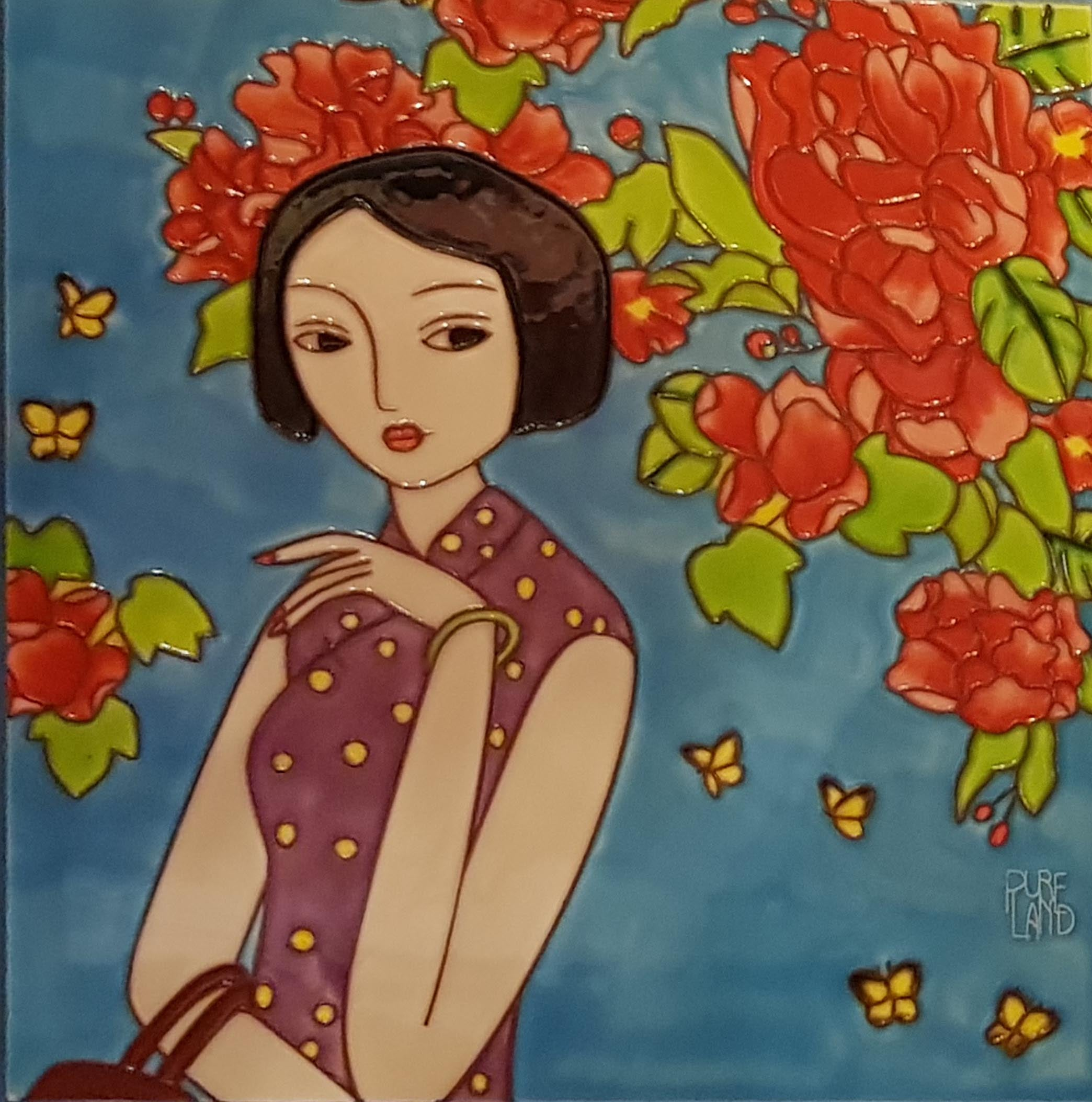 3849 Qipao and Butterflies (Collector's Edition) 30cm x 30cm Ceramic Tile