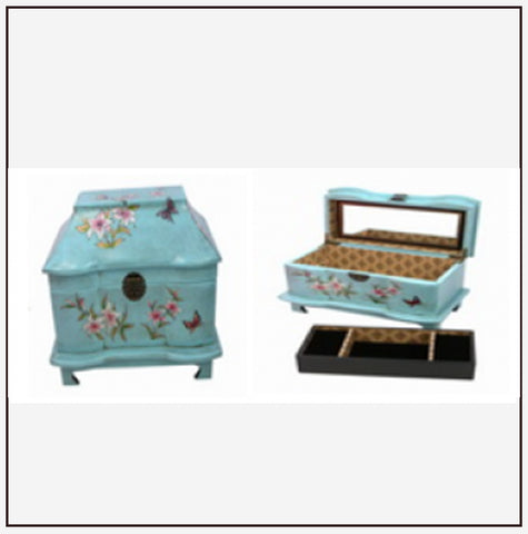 9334 Jewelry Box w/ Tray - Spring Golden