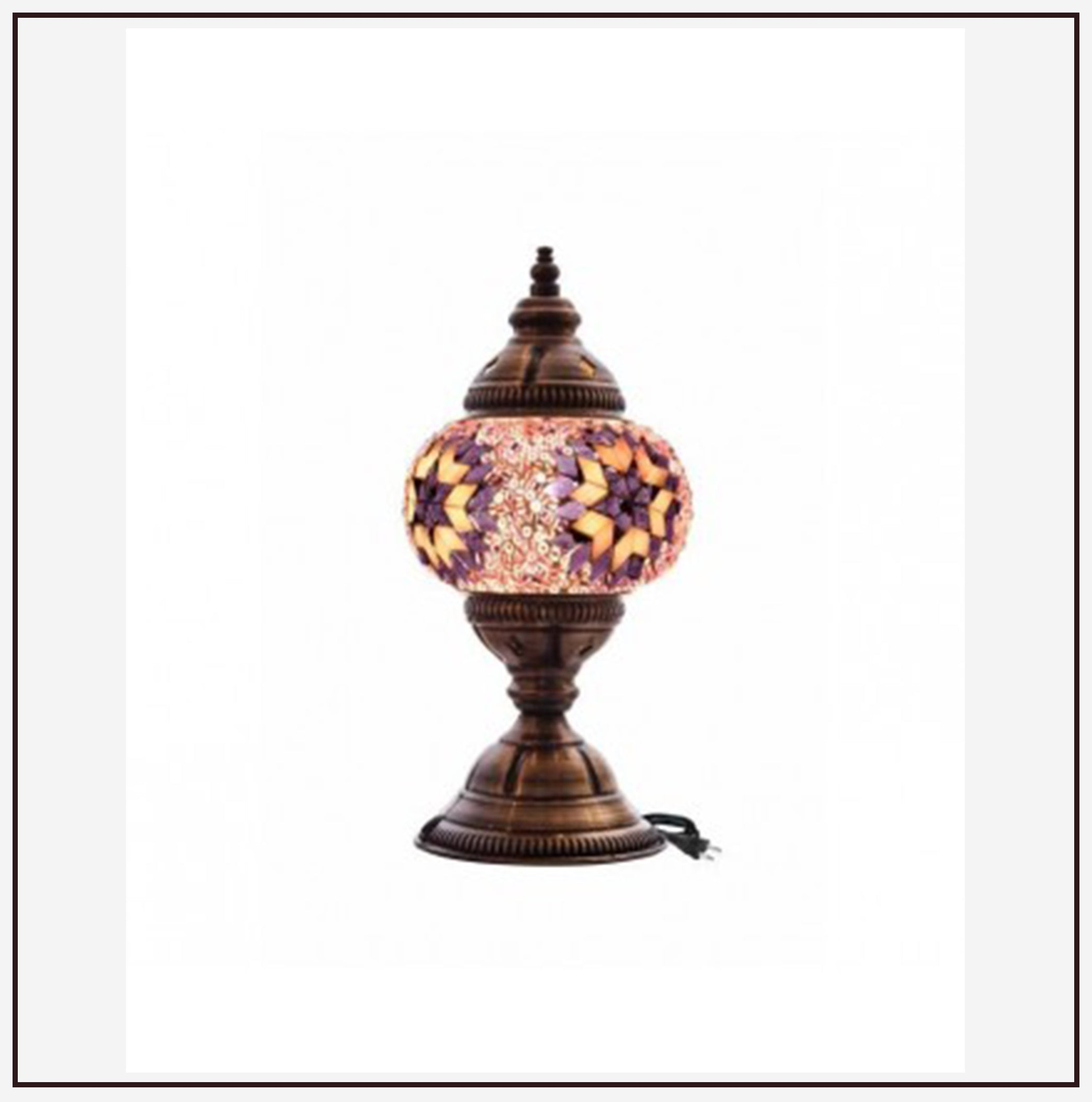 Turkish Table Lamp w/ Mosaic Glass Ball (10cm)
