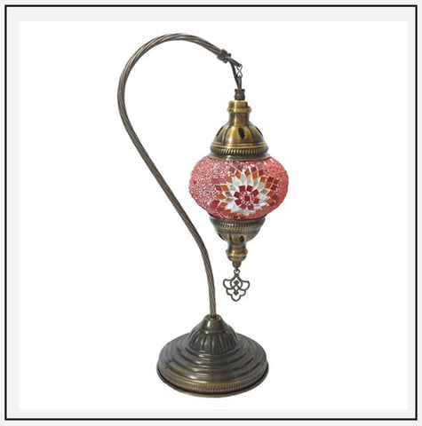Turkish Table Swan Lamp w/ Mosaic Glass Ball (12cm)