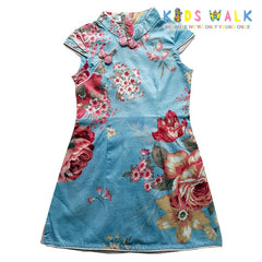 YM-38 LIGHT BLUE FLORA PRINT KIDS CHEONGSAM