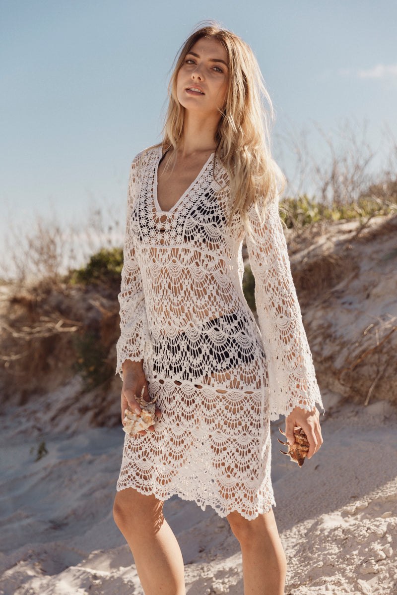 Crochet  Beach Cover Up Long Swimwear Dress
