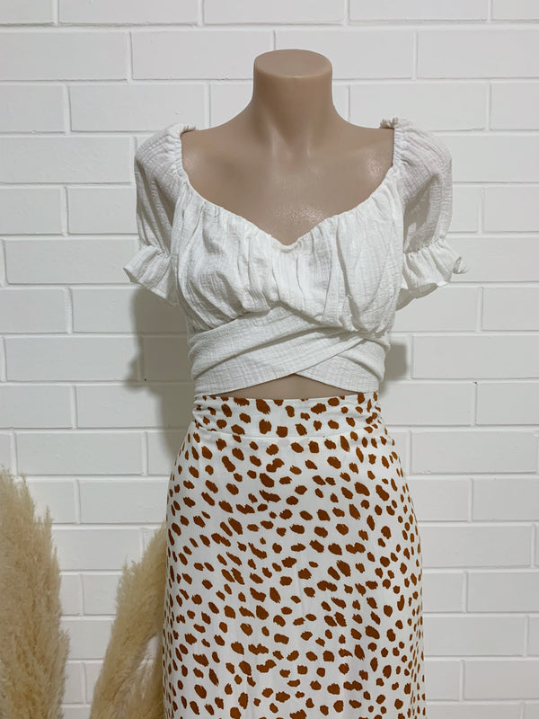 Xena Skirt - White & Rust