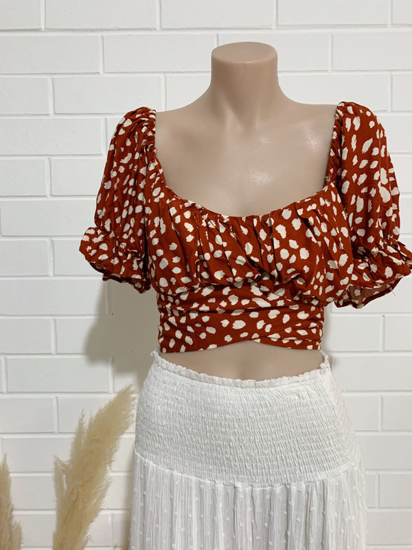 Sophia Top - Rust & White