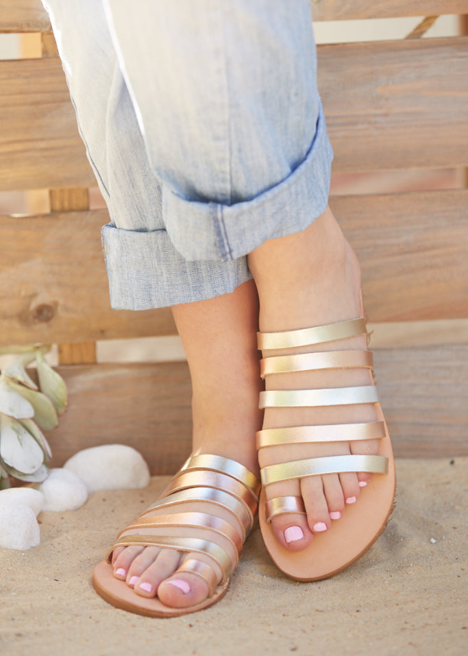 APHRODITE Gold/Rose gold Leather Strap Sandal