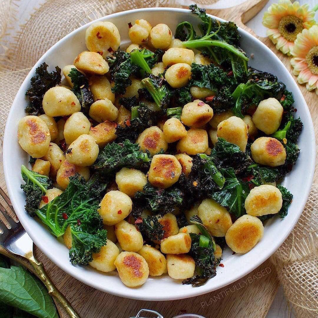 Cauliflower Gnocchi & Crispy Kale is the perfect combination of flavours & textures