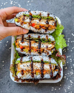 "Tofu Katsu Sushi Sandwiches or ""Onigirazu"" drizzled with homemade teriyaki sauce by Thefoodietakesflight"