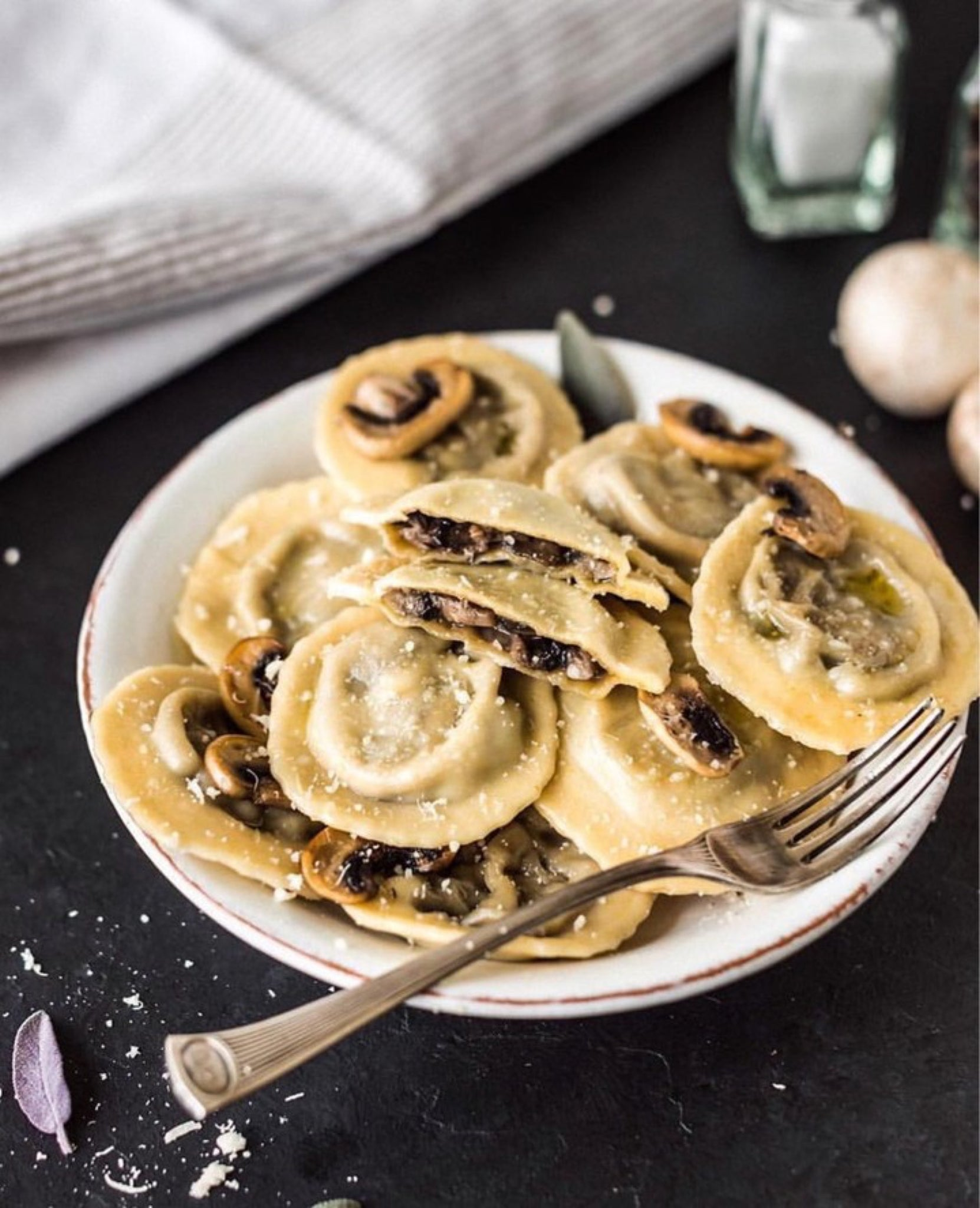 Who wants a plate of ravioli with mushroom filling? By vegaliciously⁣ {IG}