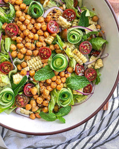 Roasted #Vegan Chickpea and Corn Salad with Creamy Tahini Dressing