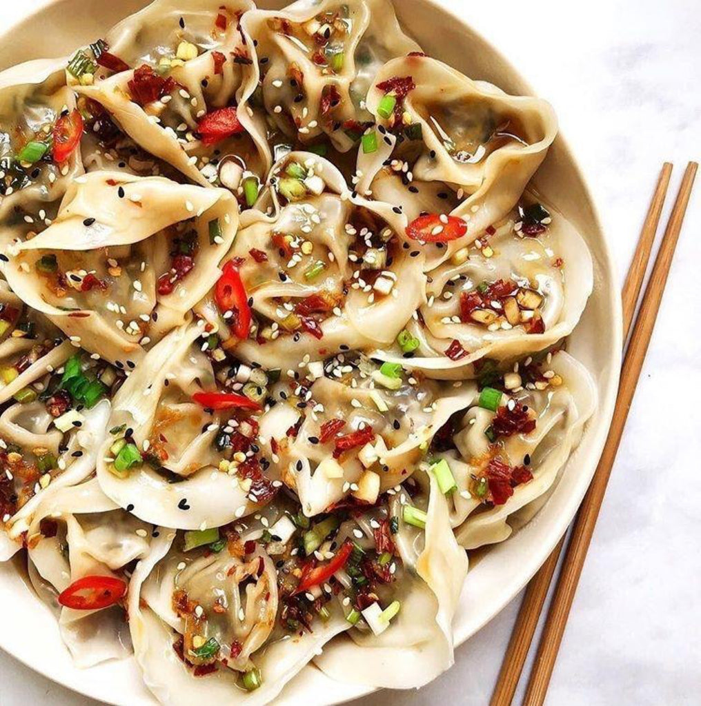 Chestnut Mushroom #Vegan Dumplings in Tangy & Spicy Chili Oil Sauce