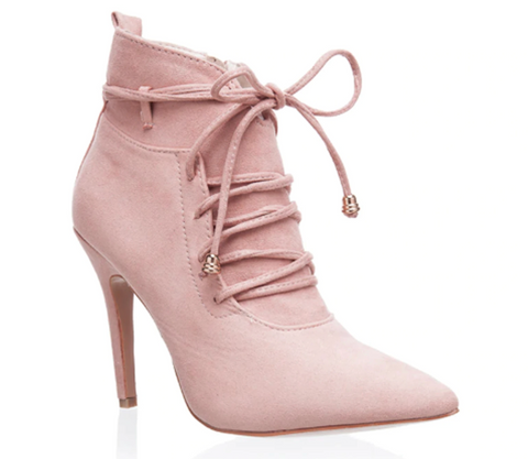 vegan pink ankle boot