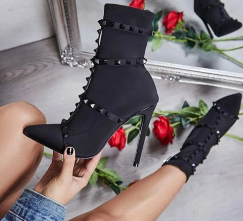 Material Girl - Pointed Toe Studded Vegan Izzabel Ankle Bootie