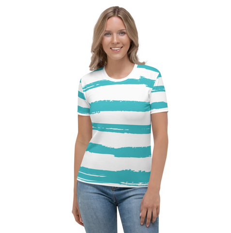 Bodrum - Turquoise Paint Strokes Print Short Sleeves Women's T-shirt