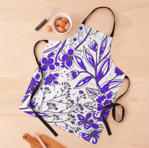 Simona - Purple Flower Print Apron