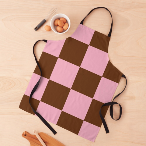 Zeliha - Pink Brown Checkered Apron