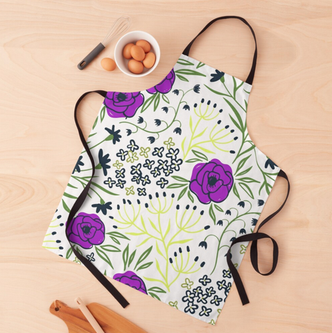 Aisha - Purple And Yellow Flower Apron