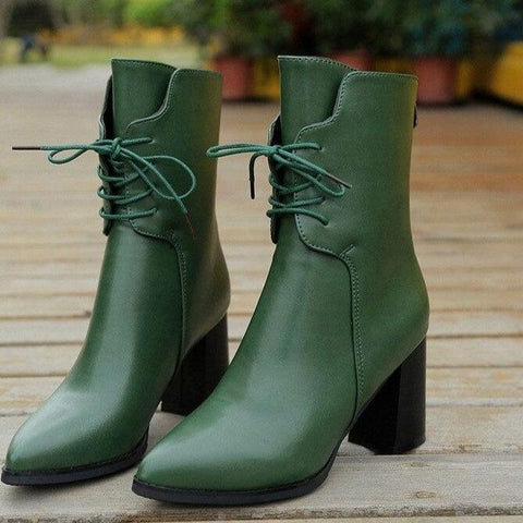 Lace Up Pointed Vegan Bootie Izzabel