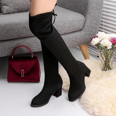 Faux Suede Over The Knee Vegan Boot Izzabel