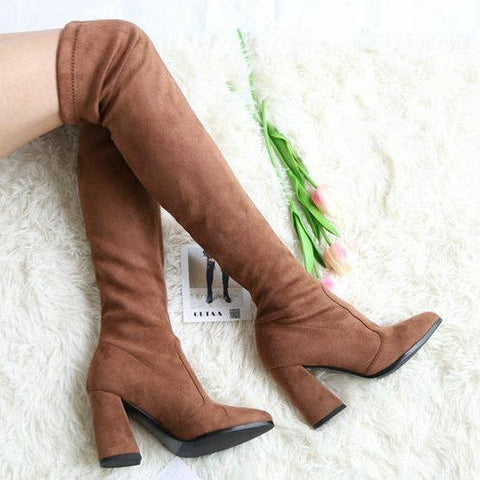 Angie - Faux Suede Over The Knee Boot