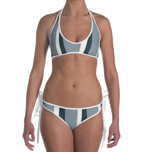 In my lane - Reversible Design Grey Stripes Print Bikini Set