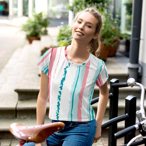 Pink Turquoise Stripes Vegan Crop T shirt Izzabel