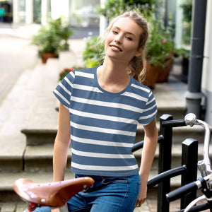 Stripes Print Crop T-Shirt