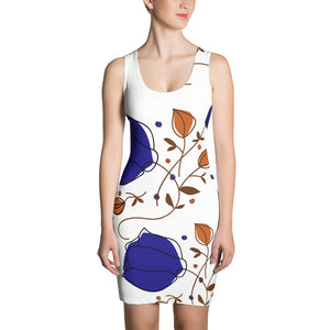 Sari - Indigo Purple Flower Print Sleeveless Women's Dress