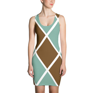 Notthing Hill - Green And Brown Checkered Print Sleeveless Jersey Dress