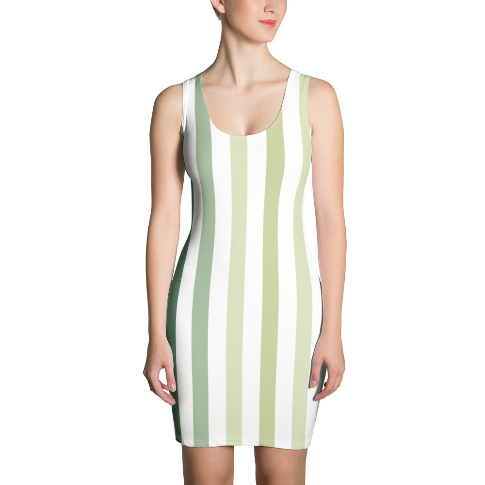 Forest - Khaki Green Stripes Print Sleeveless Jersey Dress