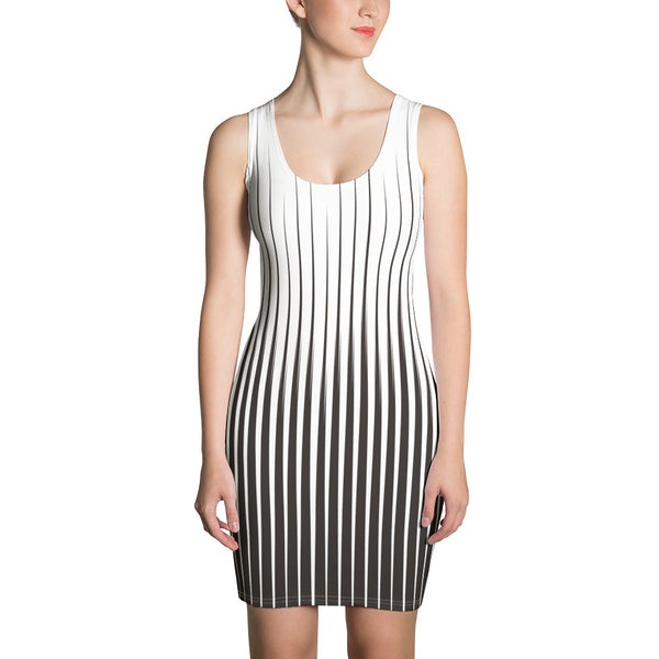Behind The Veil - Black Code Stripes Sleeveless Jersey Dress