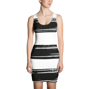 Siena - Black Paint Stripes Sleeveless Jersey Dress