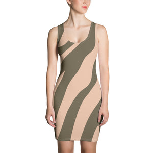 Botswana - Khaki & Tan Zebra Print Sleeveless Jersey Dress
