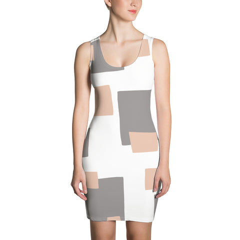 Val - Tan Grey Checkered Print Sleeveless Jersey Dress