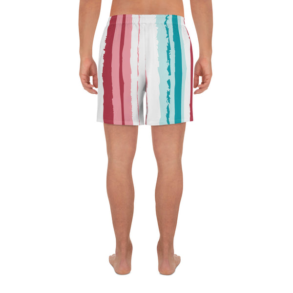 Pink Turquoise Stripes Vegan Men's Swim shorts Izzabel