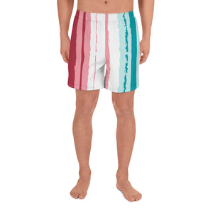 Pink Turquoise Stripes Vegan men's Swimshorts Izzabel