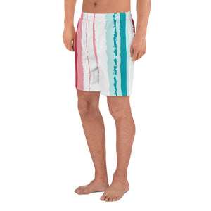 Tuscany - Turquoise & Pink Stripes Men's Athletic Shorts, Swim Shorts, Beach Shorts