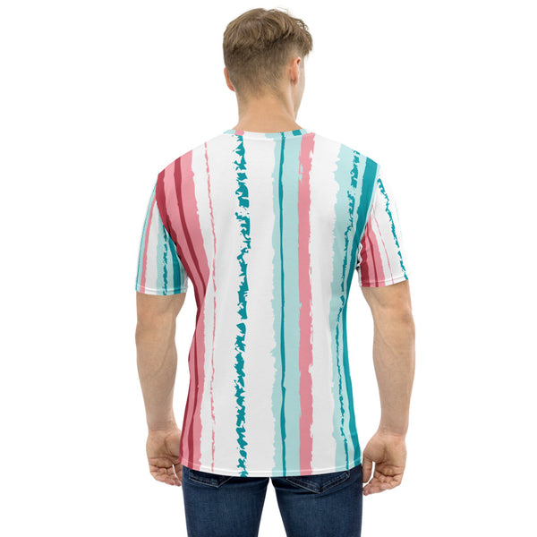 Pink Turquoise Stripes Vegan Men's T shirt Izzabel