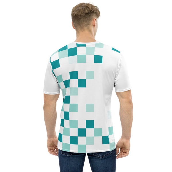 Check Mate - Green Square Checkered Print Short Sleeves Men's T-shirt