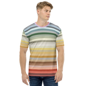 Candy lane - Multicoloured Rainbow Stripes Print Short Sleeves Men's T-shirt