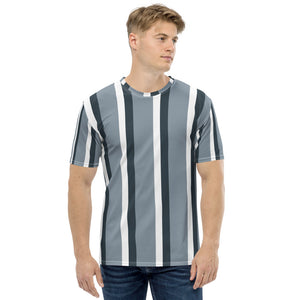 After Shave -  Grey Stripes Print Short Sleeves Men's T-shirt