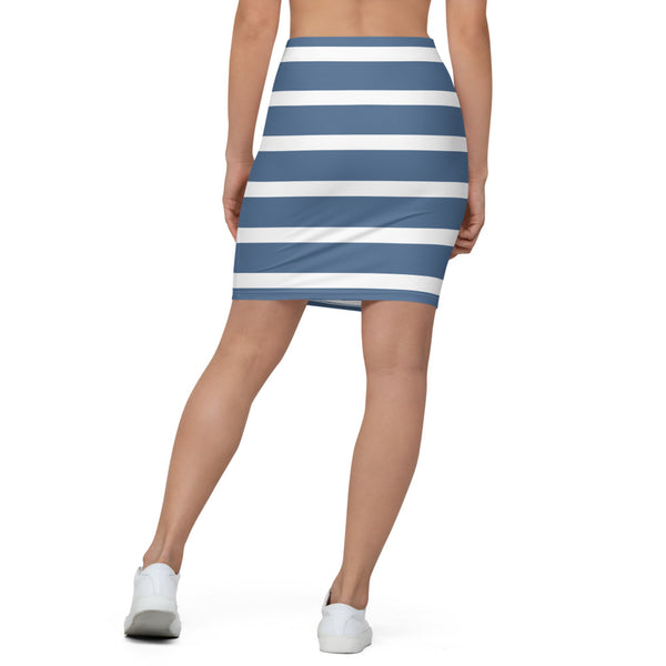 Sailor - Blue & White Stripes Pencil Skirt