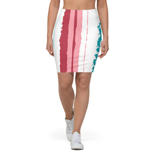 turquoise pink vegan stretch pencil skirt