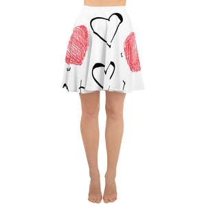 Cross My Heart - Pen Art White A Line Knee Length Skirt