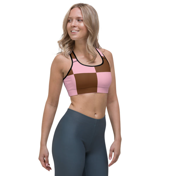 Zeliha - Pink Brown Checkered Print Sports Bra