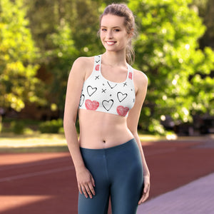 Hearts and Crosses Print Vega  Sports bra